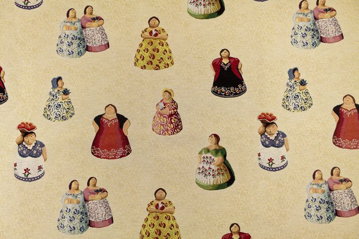 5.50 x 1.40 meters !!! Luxury gobelin fabric with dolls patterns - Cotone, Resina/Poliestere - Fine XX secolo