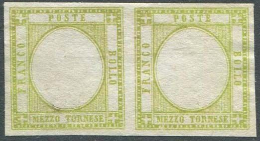 Neapolitanische Provinzen - 1/2 tornese olive green yellow, proof without effigy in the chosen colour, horizontal pair. - CEI N. P22