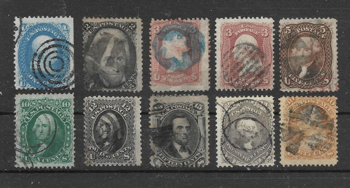 United States of America 1861/1867 - Short sentence without a maximum value of 1 - 30 c. - Michel 16/24