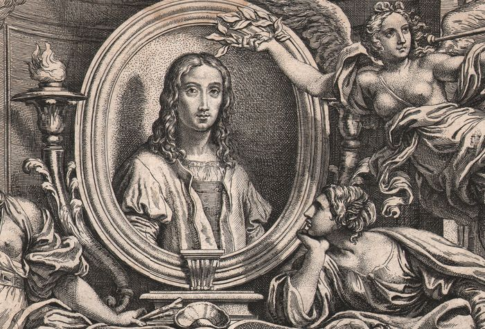 Carlo Maratti (1625-1713), Pietro Aquila (1650-1692) - Oval portrait of Raphael with personifications of the Arts - Large title etching