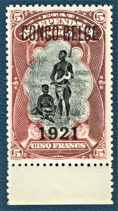"""Belgisch-Congo 1921 - Variety: """"Surcharge on 1921 issue"""" postfris / mint without hinge. Cat.val.: €410 93A"""