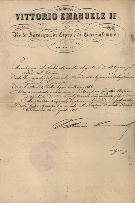 Vittorio Emanuele II Savoy King of Italy - Autograph; Military Decree also Signed by the Interior Minister Giovanni Filippo Galvagno - 1850