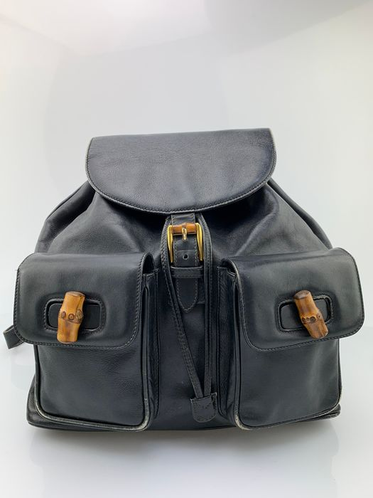 Gucci - Bamboo Handle-Black Leather Backpack