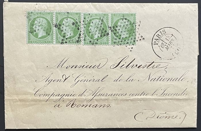 Ranska 1870 - Letter from Paris, franked with 4 of the 5 centimes, green, to Romans/Département Drôme – unoccupied - Michel Nr. 19 a