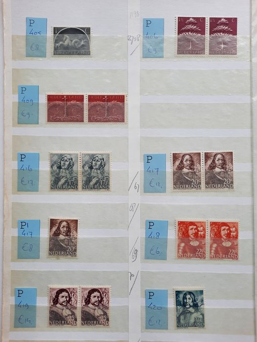 Pays-Bas 1943/1963 - Batch including approx. one hundred plate errors in a stock book
