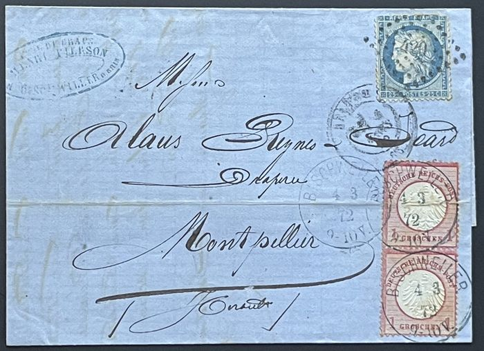 German Empire - Breastplate Marks - France 1872 - Genuine double franking Germany – France from Bischweiler (Bischwiller) to Montpellier, rare