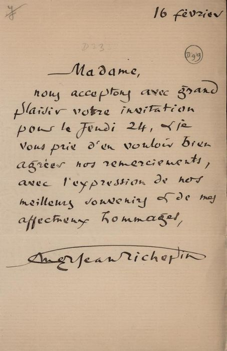 Jean Richepin French Writer - Autograph; Letter with Thanks and Greetings Invitation Received - 1900/1920