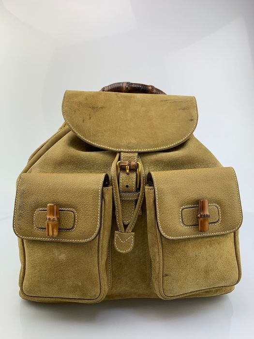 Gucci - Bamboo Handle-Suede Backpack