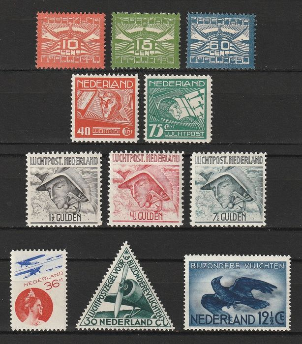 Pays-Bas 1921/1938 - Selection of airmail stamps - NVPH LP1/LP11