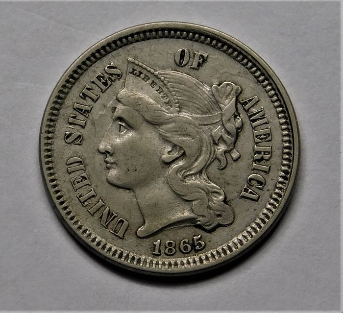 United States. 3 Cents 1865