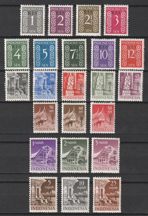 Indonesia 1950 - Complete set with overprint: RIS. - Michel 39/61