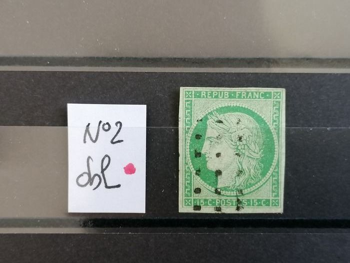 Frankreich 1850 - 15 cts green, No. 2 postmarked Yvert signed Pisan