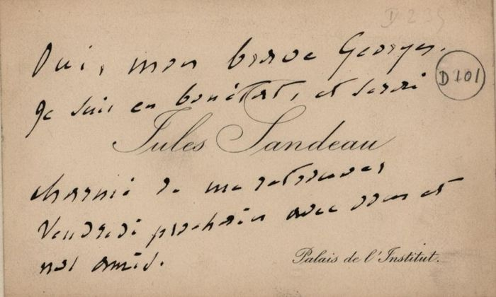 Jules Sandeau (George Sand's lover) - Autograph; Personal Business Card for Appointment (not signed) - 1848/1880