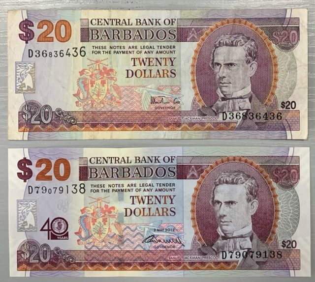 Barbados - 2 x 20 Dollars 1999-2012 - Pick 57 and 72