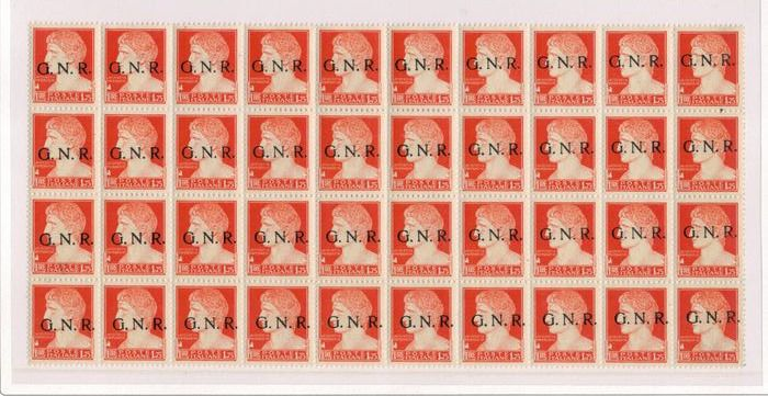 Italien 1944 - R.S.I., block of 40 of £2 Verona issue with oblique overprint - Sassone N. 481i
