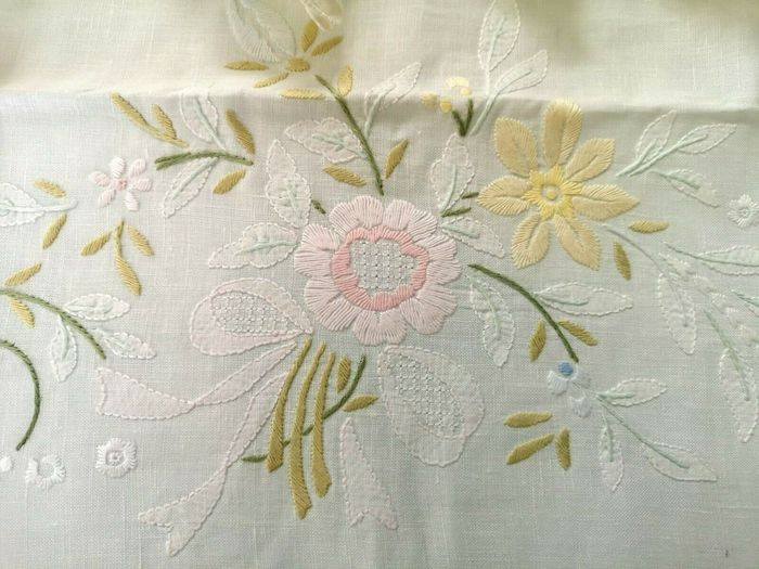 Spectacular !! pure linen tablecloth x 12 with hand embroidery - 270 x 175 cm - Lino - 21° secolo