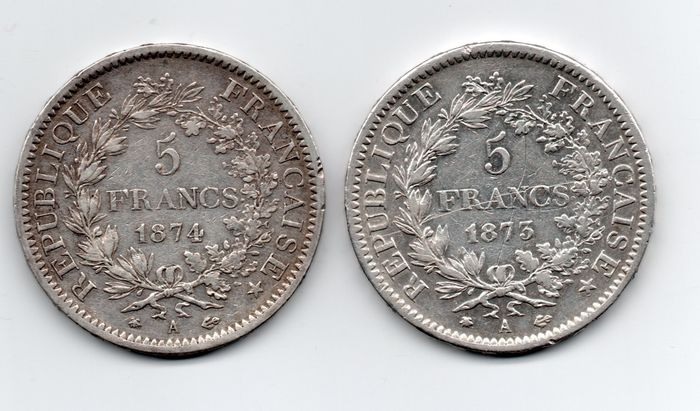 France. Third Republic (1870-1940). 5 Francs 1873-A et 1874-A Hercule (lot de 2 monnaies)