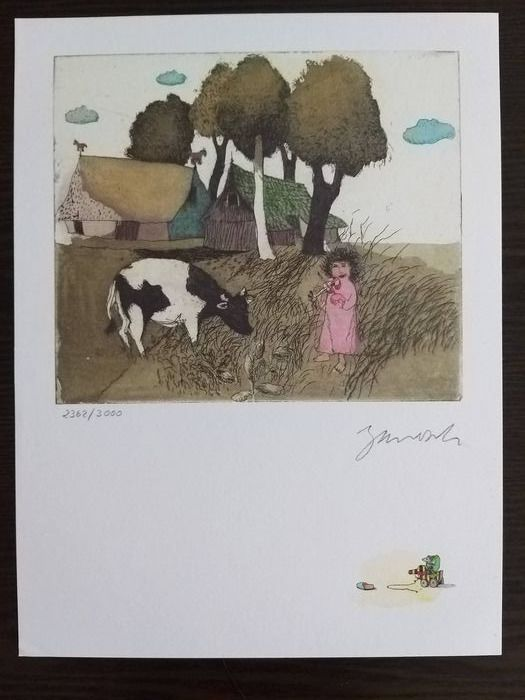 Janosch - Original Colored Engraving, HAND Signed, Hand Numbered