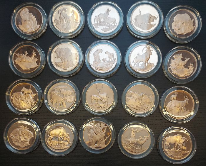 Afrique. 20 medals after 1972, East African Wildlife, by the Franklin Mint