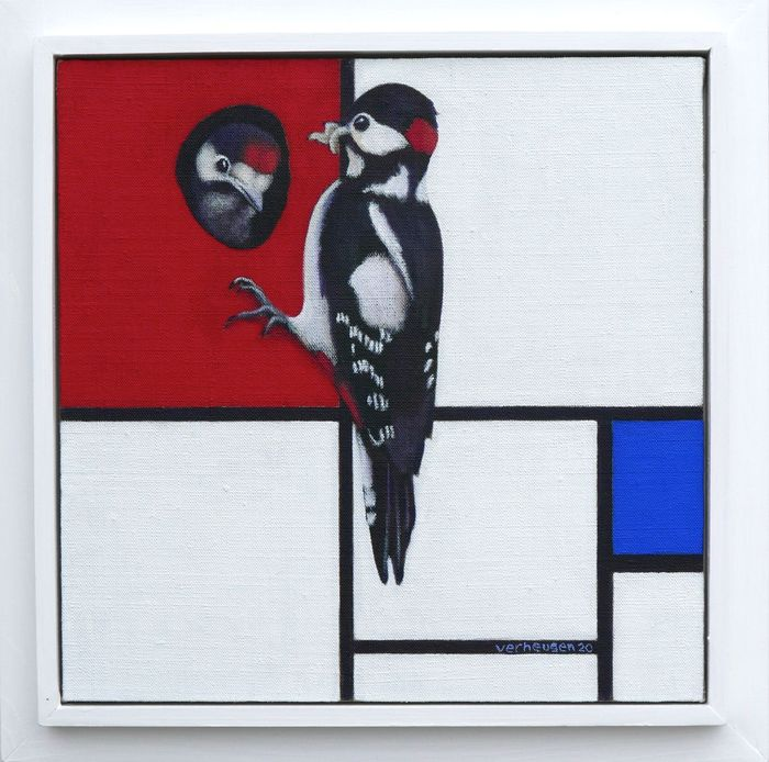 Jos Verheugen - Free after Mondrian, with woodpeckers (M566)