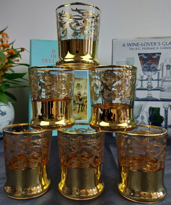 Cristal T. Murano - Verres à Whisky (6) - .999 (24 kt) Gold