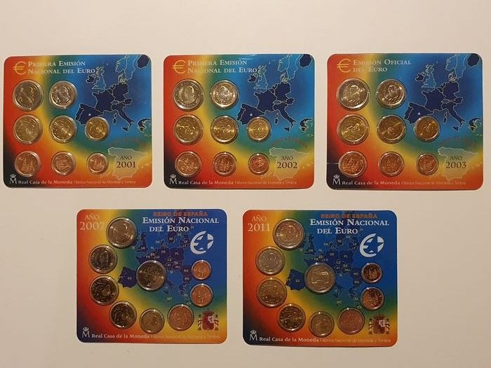 Spain. Year Set 2001/2011, Bu (1 cent to 2 euro), (5 sets)