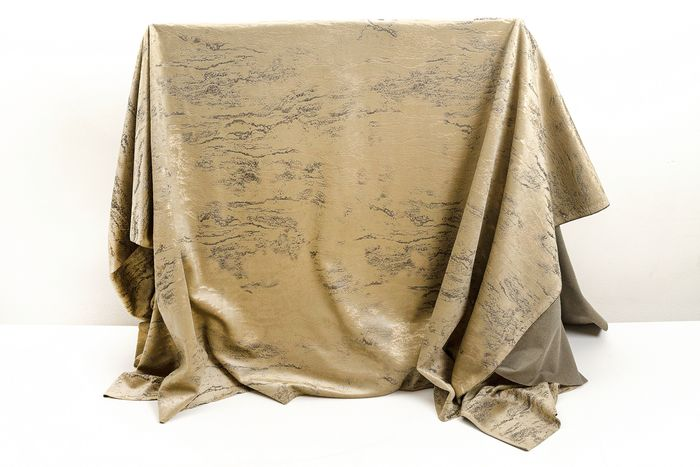 6.00 x 1.40 METERS!!! Exclusive beige velvet fabric with gold-colored metal effect decoration - Cotone, Resina/Poliestere - 21° secolo