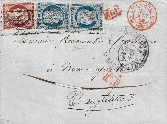 Frankreich 1854 - Ceres, 1 franc crimson and 25 centimes, pair, on letter bound for the USA. - Yvert 6-4