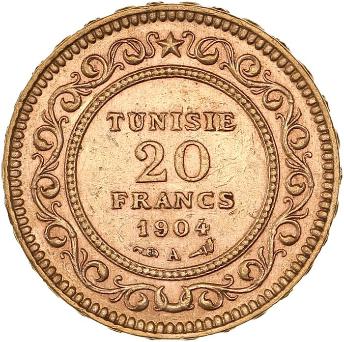 Tunisia (French protectorate). 20 Francs 1904-A