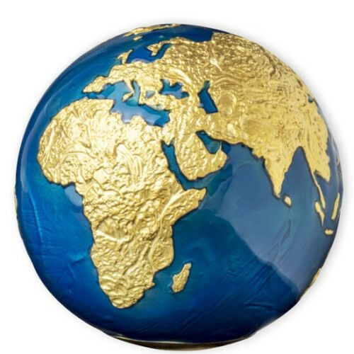 Barbados. 5 Dollars 2021 BLUE MARBLE GOLD PLATING PLANET EARTH SPHERICAL - 3 OZ