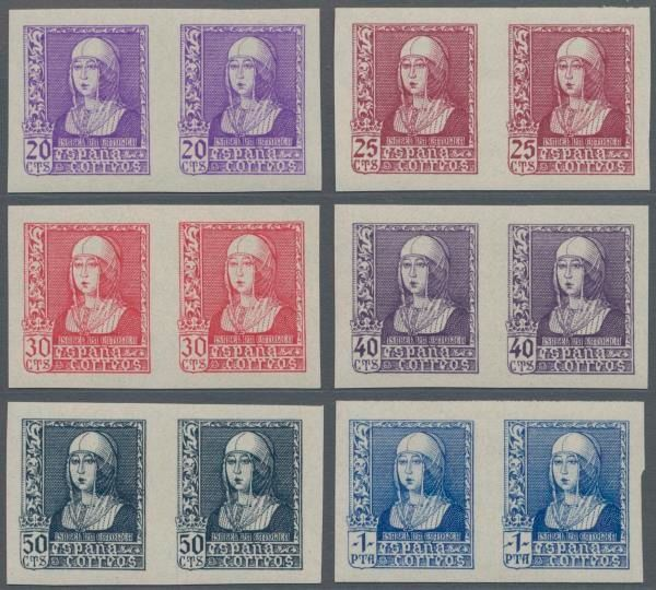 Spanien 1938 - 1938/1939, Queen Isabella 20c.-1pts. complete set of six values in imperforated horizontal pairs,