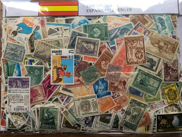Spanien - Collection of 1,000 different mint stamps