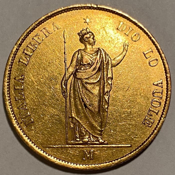 Italy, Provisional Government of Lombardy. 40 Lire 1848