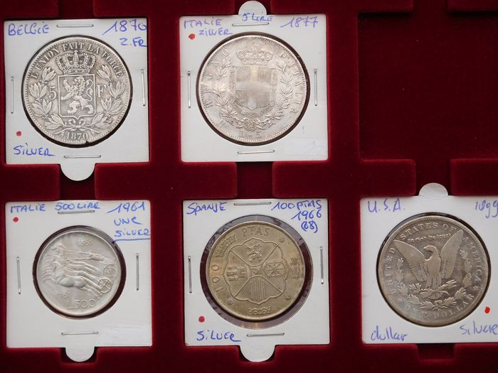 Belgium, Italy, Spain, United States. Lot various coins 1870/1966 (5 pieces)