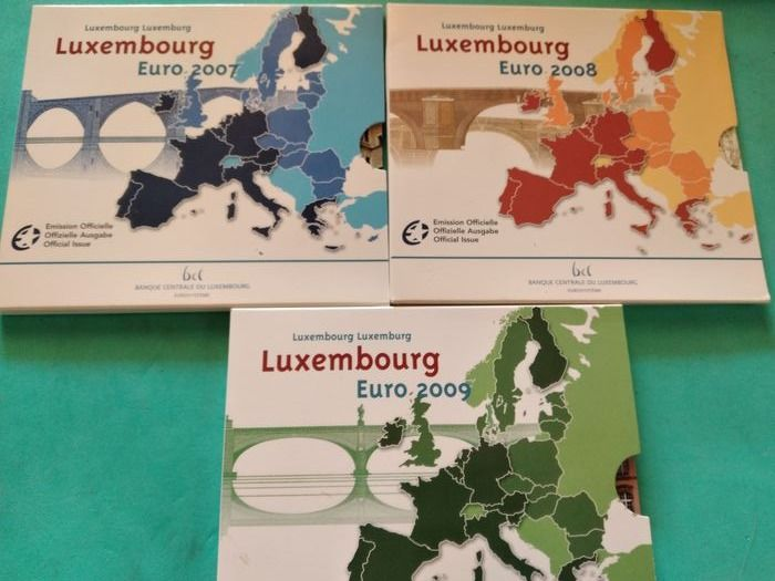 Luxembourg. Year Set 2007/2009 (3 sets)