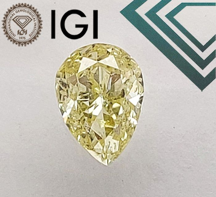 1 pcs Diamant - 0.50 ct - Marquise - NATURAL FANCY LIGHT YELLOW - I1, - No Reserve Price