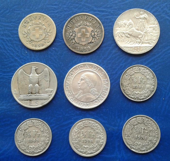 Italy, San Marino, Switzerland. Lot various coins (9 pieces) billon and silver