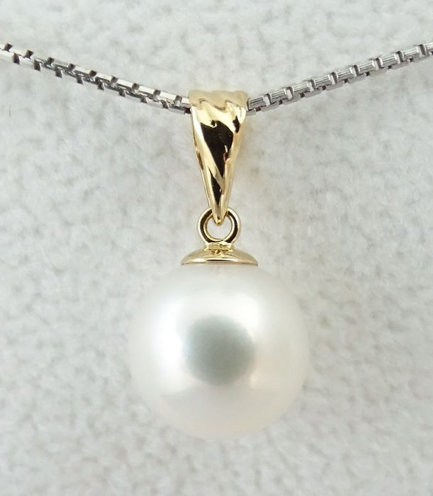 No Reserve Price - South Sea Pearl, True AAA 9.5 mm - 18 kt Gelbgold - Anhänger