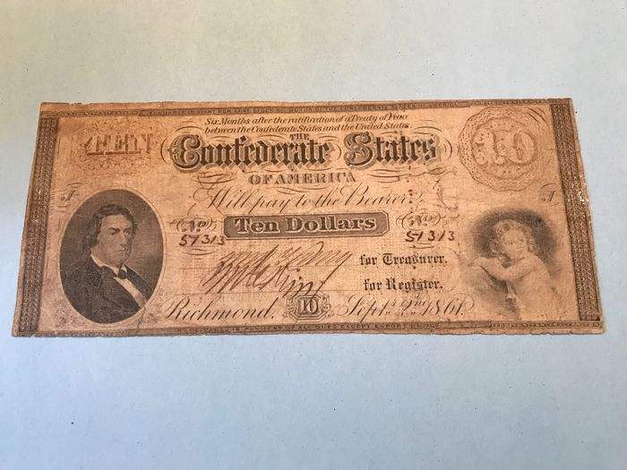 United States of America - Confederate States - 10 Dollars 2 sept  1861 - Pick 23