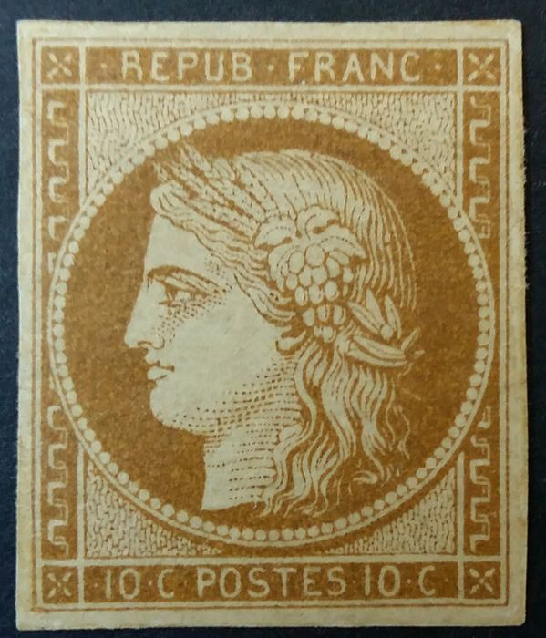 France 1850 - Ceres imperforate, 10 centimes bistre-yellow. - Yvert 1