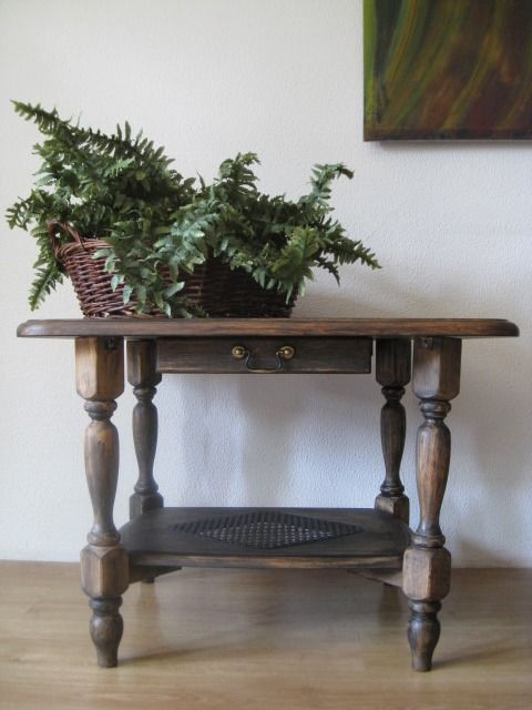 English Colonial Coffee Table with Vienna Wicker And Slide-through Drawer. Only Shipping