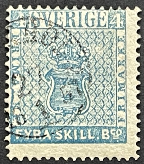 Zweden 1857 - Flawless, neatly cancelled 4 skillings in the better colour grey blue - Michel Nr. 2 b graublau