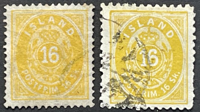IJsland 1873 - 2 x cancelled 16 skillings, yellow, with perforations A and B - Michel Nr. 5A und 5 B