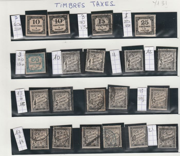France 1861/1983 - Set / accumulation of tax stamps, with old ones. - Yvert Entre les n°2 et 112