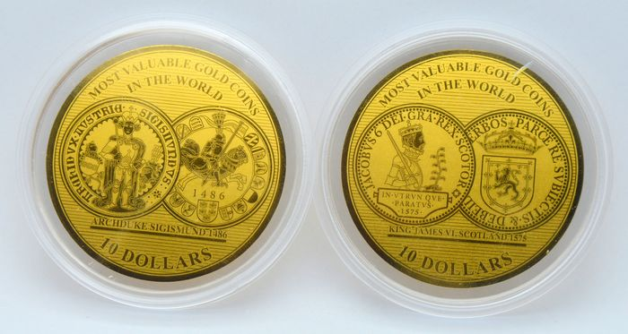 Solomon Islands. 10 Dollars 2019 'Most Valuable Gold Coins in the World' (2 coins) 2x 1/100 oz