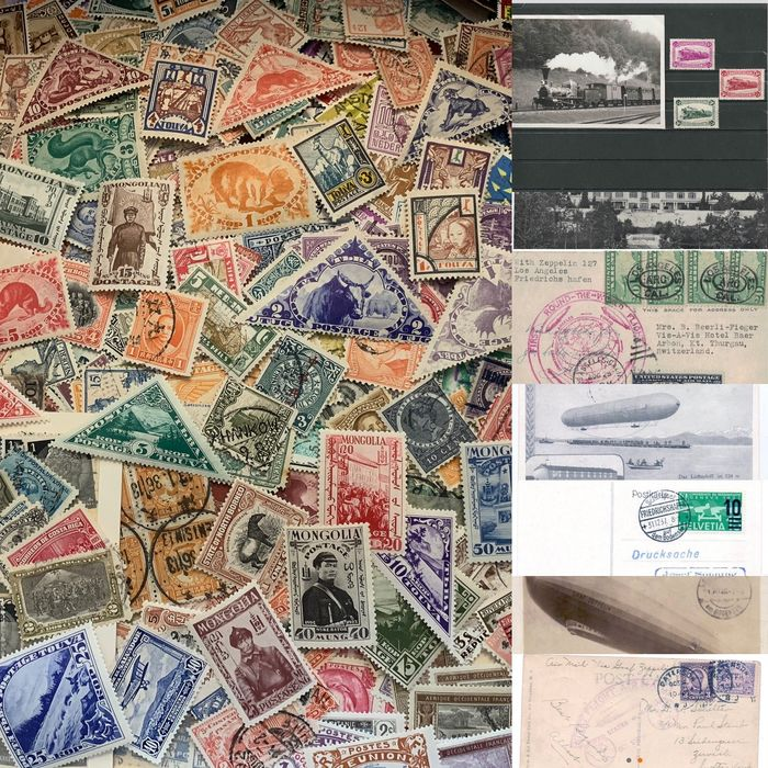 World - Box lot (3.5 kg) with detached stamps from all over the world/Asia with zeppelin postcards, Russia