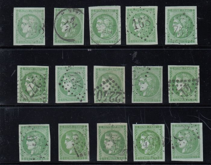 France - Bordeaux issue, 5 centimes green, block transfer of 15 reconstituted - Rare - Signed Calves. - Yvert 42B