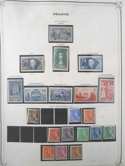 Frankreich 1938/1956 - A lovely, almost complete MNH set of semi-modern stamps, Ader, Dulac 701A/701F... Value: over 3500. - Yvert Entre les n°396 et 1075