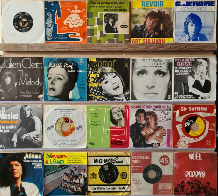 """Charles Aznavour, Edith Piaf, Various Artists/Bands in French/Chanson - Diverse artiesten - Diverse titels - 45-toerenplaat (Single), EP-10""""inch - 1955/1984"""