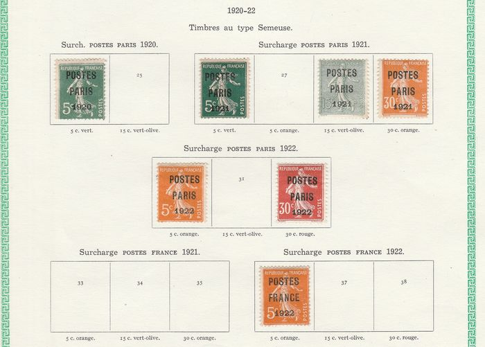 Frankreich 1920/1960 - Set of pre-postmarked stamps with vintage and semi-modern ones. - Yvert Entre les n°24 et 122